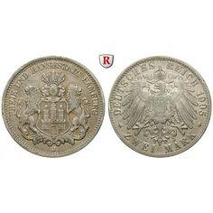 Deutsches Kaiserreich, Hamburg, 2 Mark 1905, J, ss, J. 63: 2 Mark 1905 J. J. 63; sehr schön 75,00€ #coins