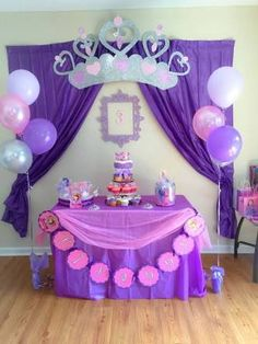 Sofia the First Party Decoration Ideas . Lovely sofia the First Party Decoration Ideas . Food Table with Lit Background Elegant sofia the First Princess Sofia Birthday, Princess Birthday Party Decorations, Sofia The First Birthday Party, 3rd Birthday Parties, First Birthdays, Ideas Manualidades, Fiesta Ideas, Party Service, Equestria Girls