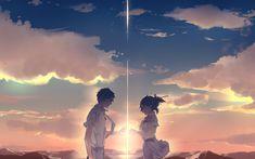 Anime Your Name. Mitsuha Miyamizu Taki Tachibana Kimi No Na Wa. Mitsuha And Taki, Zutto Mae Kara, Kimi No Na Wa Wallpaper, Your Name Wallpaper, Hd Wallpaper, Wallpaper Downloads, Tsurezure Children, Your Name Anime, Studio Ghibli