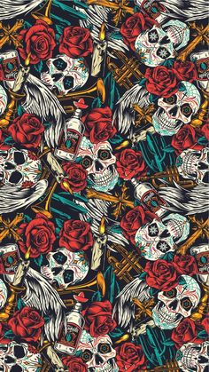 Colorful Wallpaper with skulls and red roses for IPhone. Find more high quality vector illustrations dedicated to Day Of The Dead on our website. Dope Wallpapers, Aesthetic Wallpapers, Wallpaper Backgrounds, Witchy Wallpaper, Gothic Wallpaper, Warriors Wallpaper, Apple Logo Wallpaper, Day Of The Dead Skull, Cellphone Wallpaper