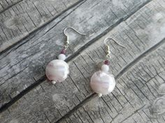 Flat round pink glass bead dangling earrings by JHFWBeadsAndFindings on #Etsy #handmade #Jewelery with <3 from JDzigner www.jdzigner.com