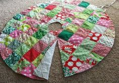 Brown Paper Packages: Patchwork Christmas Tree Skirt Tutorial.