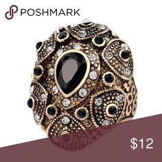 Vintage Style Ring Stunning Vintage Style Bohemian Statement Ring 🔸 Size: 8 🔸 Materials: Gold Plated Base Metals, Cubic Zirconia, Black Resin 🔸 Nickel & Lead Free 🔸 Condition: New Jewelry Rings