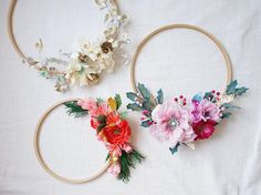 Paper Embroidery A wreath made especially for you, from the colors and style of flowers of your choosing. Hand dyed, bleached, cut and shaped flowers made from the - Paper Flower Wreaths, Crepe Paper Flowers, Felt Flowers, Diy Flowers, Floral Wreaths, Holiday Wreaths, Christmas Decorations, Paper Embroidery, Embroidery Hoops