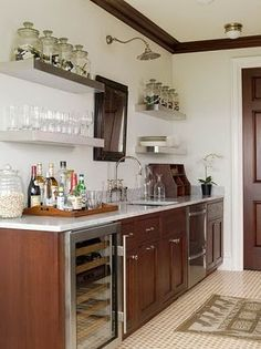 Phoebe Howard: High-rise galley kitchen with modern cherry cabinets paired with carrara marble . Kitchen Shelves, Kitchen Decor, Kitchen Cabinets, Upper Cabinets, Kitchen Ideas, Basement Kitchen, Cupboards, Kitchen Sink, Atlanta Apartments
