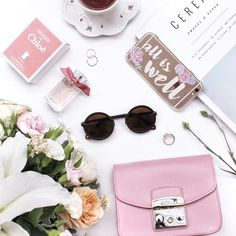 Pretty Flatlay with a Hint of Pink | Chloe | Furla Bag | Flowers