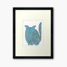 'Blue Sad Cat' Framed Print by My Design, Print Design, Sad Cat, Love Blue, Off Colour, Box Frames, Iphone Wallet, Framed Art Prints, Cat Lovers