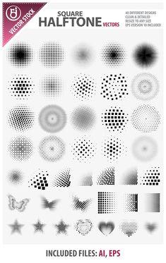 Square Halftone Vectors by rjDezigns.deviantart.com on @deviantART