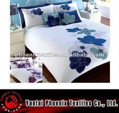 modern applique big flower duvet cover