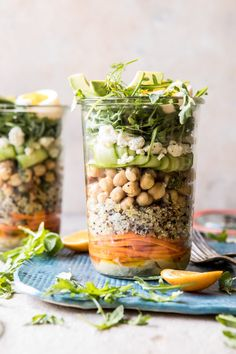 Mediterranean Chickpea and Egg Salad Jars: The most perfect salad to prepare on Sunday for easy work lunches. It's healthy, pretty, flavorful and can be prepared in under 30 minutes. It also uses pantry staples and vegetables you might already have on hand, or sitting in the fridge. @halfbakedharvest.com