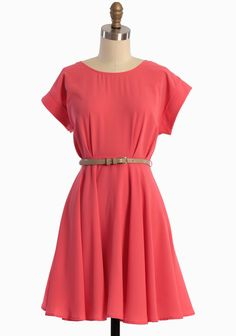 Understated belted coral dress - perfect for summer!