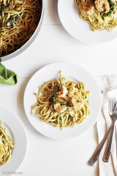 Shrimp Pesto Arugula Pasta - $3 Dollar dinner recipe that is delicious!