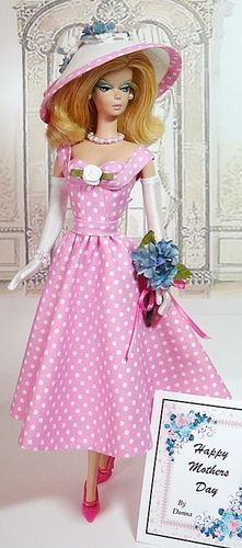 Polka Dot PINK Dress Barbie with Matching Hat - Special Occassions