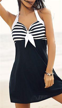 $12.43 Halter One-Piece Striped Multi Convertible Way Swimwear
