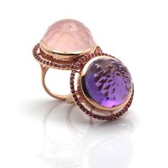 Lollipop ring in various color combination. Rose quarts with ruby pave and amethyst ring with ruby pave frame in 18k rose gold by Trésor - unique jewelry