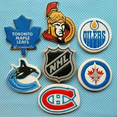 I'm a huge ice hockey fan (I'm a goalie) so I was super excited to create these Canadian team logos. Except I forgot the Calgary Flames! I feel so bad! Maybe it was subconscious as I used to be a huge Oilers fan growing up. Nhl Hockey Teams, Ice Hockey, Hockey Cakes, Hockey Party, Logo Cookies, Birthday Cookies, 7th Birthday, Edmonton Oilers, Vancouver Canucks