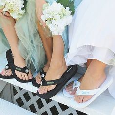 Slip your bridesmaids' feet into these chic women's flip flops personalized with your gals' names for your wedding reception, on the beach, for a home spa party, or just for a cute and comfortable every day accessory. These flip flops can be ordered at http://myweddingreceptionideas.com/personalized_flip_flop.asp