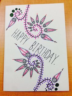 birthday card drawing happy cards draw drawn hand getdrawings diy simple related very funny drawings flowers leaves quotes greeting birthdays