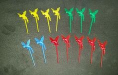Vintage Set of 14 Plastic Parrot Party Cocktail Picks Cupcake Toppers