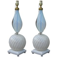 Superb Pair of White and Blue Murano Glass Lamps | From a unique collection of antique and modern table lamps at https://www.1stdibs.com/furniture/lighting/table-lamps/