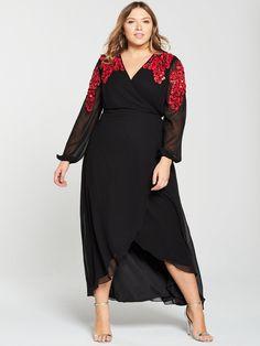 85841e98b96 V by Very Curve Embellished Shoulder Wrap Maxi Dress - Black