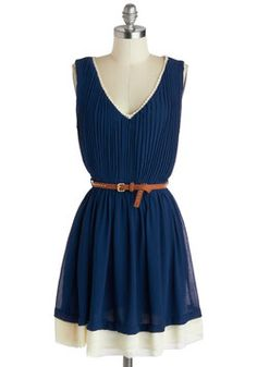 Secluded Cabin Dress, #ModCloth  I very much enjoy navy blue and brown leather accents.  And even if you don't pair it with brown leather, you could pair with with red and get a nautical thing going. Oooh! Red patten leather heels!
