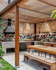 40 Outdoor Kitchen Pergola Ideas for Covered Backyard Designs Awesome outdoor kitchen pergola ideas Patio Pergola, Pergola With Roof, Gazebo, Modern Pergola, Small Pergola, Covered Pergola Patio, Pergola Screens, Wisteria Pergola, Patio Fence