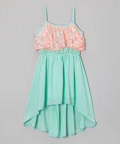 Another great find on #zulily! Coral & Mint Chiffon Ruffle Dress - Girls by Maya Fashion #zulilyfinds