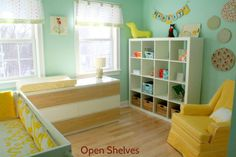 A shelving unit that is open for the kids to grab whatever they want. Put the stuff you don't want them to get up top.   Instructions at http://www.chiccheapnursery.com/2010/real-rooms/real-room-hooray-for-little-girls/