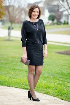 Holiday Party Outfit: LBD with sheer black hose and black suede pumps