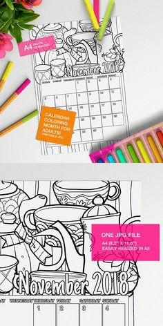 Make your own calendar with this November 2018 Calendar to color page!! #adultcoloring #coloringforadults #coloringpages #adultcoloringpages