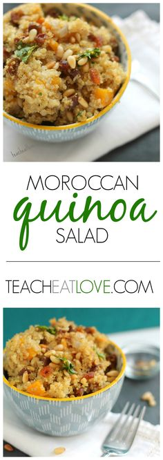 Moroccan Quinoa Salad. Flavorful, easy, and yummy. Can be served chilled or warm. www.teacheatlove.com
