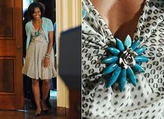 Michelle Obama floral brooches, flower jewellery