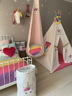Unicorn Tipi Rainbow Kids Teepee Indoor Tent Unicorn Wigwam Cotton Canvas Tipi Children Play Tent Nursery Gift Teepee For Girls Childrens room Unicorn Rooms, Unicorn Bedroom, Indoor Tents, Teepee Kids, Teepee Tent, Tent Canopy, Girl Bedroom Designs, Little Girl Rooms, Kids Playing