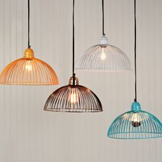 These would look brilliant above the bar in a marquee! Wire dome pendant light // Shades of Light Stairway Lighting, Bar Lighting, Wire Pendant Light, Pendant Lights, Attic Inspiration, Modern Lighting Design, Funky Design, Bedroom Lighting, Light Shades
