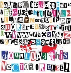 Ritaglio lettere alfabeto e numeri con simboli