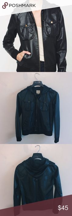 Silence & Noise hooded leather bomber jacket Faux-leather hooded bomber jacket by Silence & Noise. Pre-loved but in great condition! Ask me for additional photos!  silence + noise Jackets & Coats