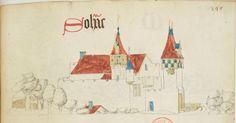 « Registre d'armes » ou armorial d'Auvergne, dédié par le hérault Guillaume REVEL au roi Charles VII. Date d'édition : 1401-1500 Français 22297 Folio 349
