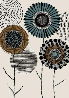 print Printmaker Floral, limited edition giclee print - Graphic artist floral limited edition giclee print by EloiseRenouf - Main Image, Motif Art Deco, Art Africain, Design Graphique, Doodle Art, Printmaking, Giclee Print, Print Patterns, Graphic Design