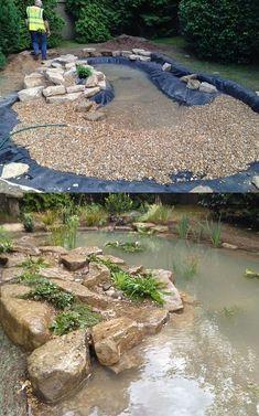 Wildlife Pond in Esher, Surrey - DIY Garten Landschaftsbau
