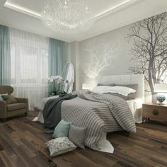 chambre a coucher beige et bleu, papier peint elitis beige