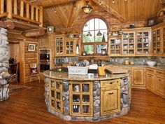 """Dream Kitchen""  If It's Country ~ Interesting rockwork & cabinetry."