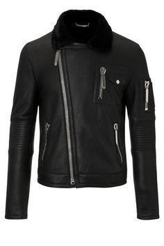 Philipp Plein | 'Supremacy' Leather Jacket Black | Biker jacket with zip details and big Philipp Plein logo on the back.