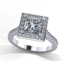 14K White Gold Diamond Ring with Moissanite Center Stone Jewelry