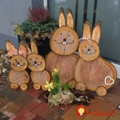 Po čistení záhrady konáre nespálili, ale narezali ich a dali vysušiť do r… After cleaning the garden, the branches were not burned, but they were cut and dried in the oven: This Easter idea now admires the whole street! Wood Log Crafts, Wood Slice Crafts, Easter Crafts, Holiday Crafts, Holiday Decor, Diy And Crafts, Crafts For Kids, Diy Ostern, Christmas Decorations