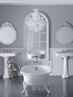 Definitely want a bathroom chandelier... Beautiful :)