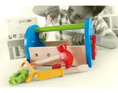 Houten speelgoed gereedschapskist