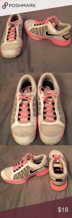 NIKE courtlite 3 running shoes Pink, black, and white NIKE running shoes. Gently worn Nike Shoes Athletic Shoes