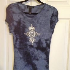 Tie dyed type t shirt with embellishments INC. Macy's.  size medium .  Blue shades.  Silver embellishments on front .  Super fun and fits great .  100% rayon INC Tops Tees - Short Sleeve