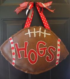 burlap football decoration….awesome!